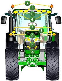 Lighting identification from front view of tractor