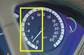 Set speed indicated in the dashboard